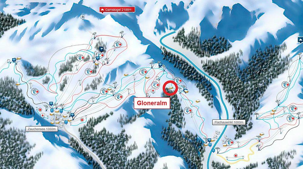 Lage der Gloneralm - Skihütte im Skigebiet Flachauwinkl-Zauchensee